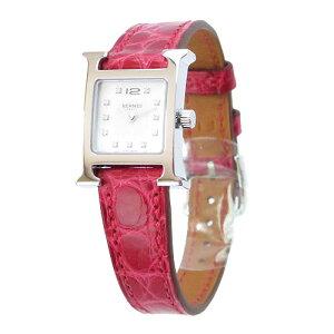 エルメス 腕時計 HERMES リストウォッチ/Hウォッチ クォーツ クロコ型押し レザー レッド/シルバー