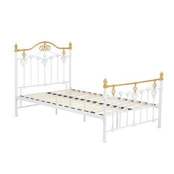 セミダブルデザインベッド【bedベッド】KH-3077WH-SDアンティーク風【送料無料】【RCP】