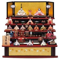 【展示現品】 真多呂人形 木目込み 雛人形 五段飾り 十七人飾り 【738】【1310 蓬莱雛…
