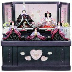 【展示現品特価】 雛人形 ひな人形 衣裳着 コンパクト収納飾り 段飾り 五人飾り パープル コ…