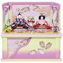 【数量限定】雛人形 おしゃれ 紫飾り台 衣裳着人形 ひな人形 コンパクト収納飾り 親王飾り ホ…