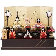 雛人形 真多呂作 二段飾り 五人飾り 木目込み ひな人形 お雛様【瑞春雛官女付 1367-04…