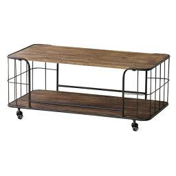テーブル ローテーブル リビングテーブル 幅90 おしゃれ シンプル 天然木 スチール 男前 キャスター アーロン センターテーブル IW-994