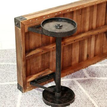 テーブルS【トロリーSTTF-117】天然木アイアン車輪付の個性的なテーブル【送料無料】