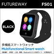 FUTUREWAY 多機能スマートウォッチFS01 スマホの着信通知と通話可 Bluetooth 腕時計 micro SIM対応通話可能/着信お知らせ/置き忘れ防止/歩数計/ストップウォッチ/高度計 (ブラック)