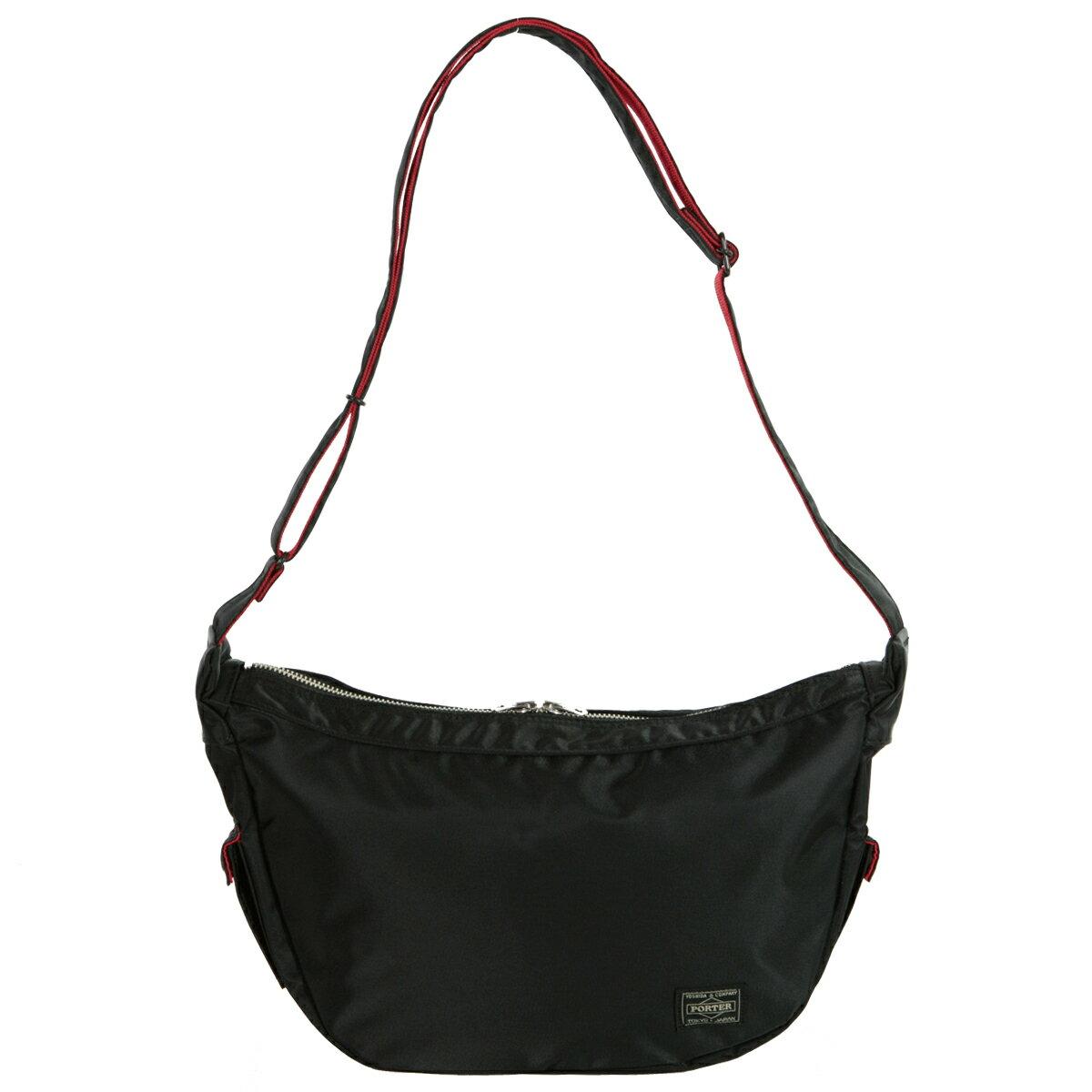 ポーター エルファイン 【PORTER L-fine】 黒赤 赤黒PORTER ILS共同企画 ラウンドショルダーバッグRound Shoulder Bag 【LYD383-...