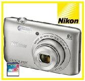 【今ならSDHCカード8GB付き】Nikon・ニコン デジカメ Wi-Fi内蔵光学8倍ズーム クールピクス COOLPIX A300 SL シルバー【楽ギフ_包装】【***特別価格***】