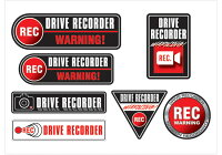 ドライブレコーダー ステッカー DRIVE RECORDER 登載車 前後 24H 録画中 7個セット(A4サイズ×1枚) デザイン04【ネコポス発送可能!】