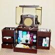 三面鏡&拡大鏡付きのメイクボックス 鏡付き 木製 ナチュラル ダークブラウン