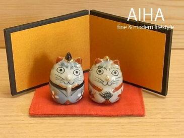 有田焼 「ねこびな 置物(屏風,敷布付)」陶製ねこ 猫 雛人形 ひな人形 手描き 可愛い かわいい 陶器