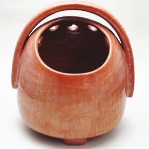 【茶器/茶道具 懐石道具 火鉢】 手焙り 赤楽焼 鮟鱇型 川崎和楽作  【smtb-KD】