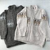 【子供服】アルパカ混で暖かいナチュラルカラーキッズセーター(約120位のサイズ)(ペルー製)