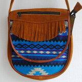 【エクアドル製】手作り布とスエードのコンビバッグ(フリンジデザイン付き)