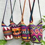 【エスニックコーデ】グアテマラの手編みミニバケツ型ショルダー(夏かばん)