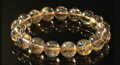 《鑑別書付き》ルチルクォーツブレスレット13.2mm金針水晶