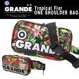 ■ グランデ サッカーバッグ トロピカル ワンショルダーバッグ 花柄 Tropical Flor-ONE-SHOULDER BAG ブラック チャコール ポリエステルキャンバス GFPH16902 ■
