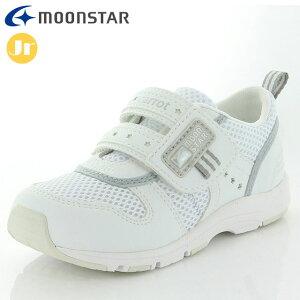 ムーンスター スニーカー キッズ ジュニア キャロット CR C2175 ホワイト MOONSTAR 12179641 子供靴 メッシュと合成皮革のコンビ 優れた急速乾燥性 カジュアルシューズ