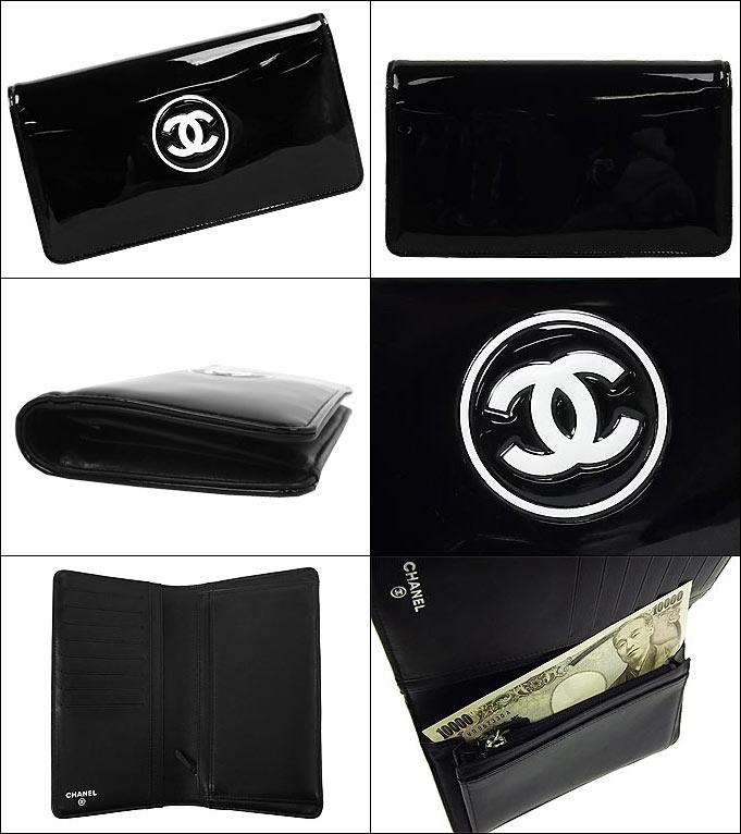 シャネル CHANEL財布(長財布) 送料無料 A69086 ブラック×ホワイト メイクアップ パテント…