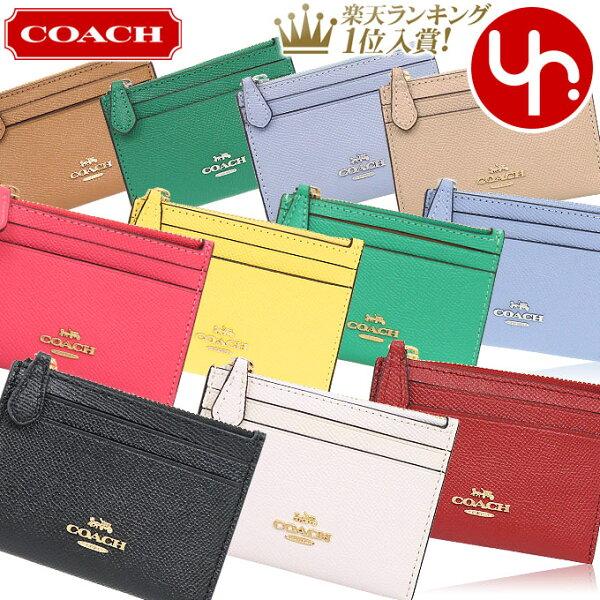 コーチCOACH財布コインケースF88250特別コーチラグジュアリークロスグレーンレザーミニIDキーリングスキニー2アウトレット
