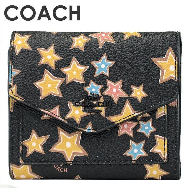 3518b086b692 コーチ COACH レディース 財布 三つ折り財布 12046 MWBLC(ブラックマルチ) ポップでカラフルな星柄がかわいい三つ折り財布