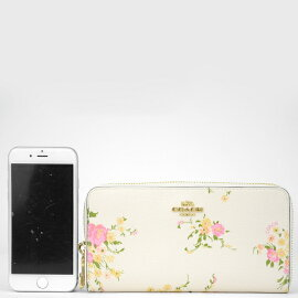 c79b33d0805b コーチ COACH 財布旬の花柄がフェミニンでかわいい長財布?ジップ持ち手のリボンチャームがアクセント!アコーディオンタイプの財布は、中身がパッと 見渡せて取り出し ...