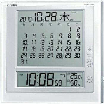 セイコークロック(株) SEIKO 液晶マンスリーカレンダー機能付き電波掛置兼用時計  P枠 白パール [ SQ422W ]
