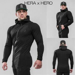 ヘラヒーロー HERA x HERO DLUXX ZIP-UP HOODIE BLACK パーカー スウェット トレーナー メンズ ジムウェア スポーツウェア 大きいサイズ スポーティ 筋トレ[衣類]
