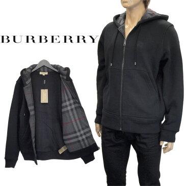 バーバリー BURBERRY スウェットパーカー 裏起毛 チェックディテール ジャージー フーディッドトップ 4061799-00100 BLACK【Winter Sale】