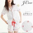 ジェイクルー ストライプに赤の模様がかわいい 半袖シャツ ショートパンツ ルームウェア パジャマ 上下セット Pajama set in fleur de lis □