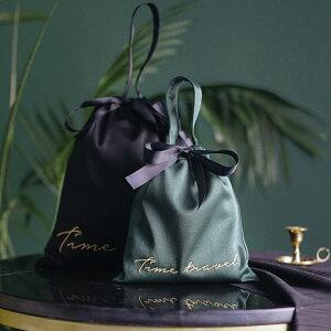 サテンベロア選べるランジェリーポーチMサイズ巾着ケースリボンブラックグリーンピンクサックス【ポイント最大43倍!楽天スーパーセール】