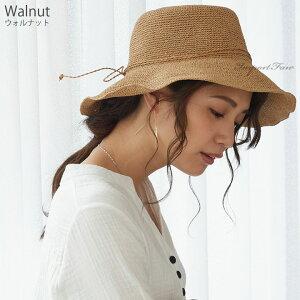 折りたためる麦わら帽子ストローハットラフィアレディース全6色フリーサイズ紫外線UVカット熱中症予防対策【Chapeaudepaille】□