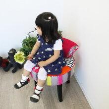 椅子かわいいスツールイスおしゃれインテリア丸形クッション一人掛けカラフル玄関リビング可愛い木製青パッチワークブルーインテリア家具雑貨