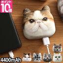 モバイルバッテリー アニマルフェイスモバイルバッテリー 4400mAh モバイルチャージャー コンパクト 軽量 充電器 猫グッズ ねこ ネコ リアル ANIMAL FACE MOBILE BATTERY - セレクトショップ・AQUA(アクア)