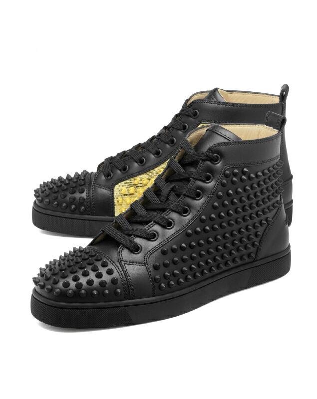 separation shoes 8eb8d fa797 クリスチャン ルブタン Christian Louboutin シューズ メンズ 1180206 CM6S スニーカー ハイカット YANG  LOUIS FLAT SPIKES ヤン ルイス フラット スパイクス BLACK/GOLD ブラック インポートショップ DOUBLE