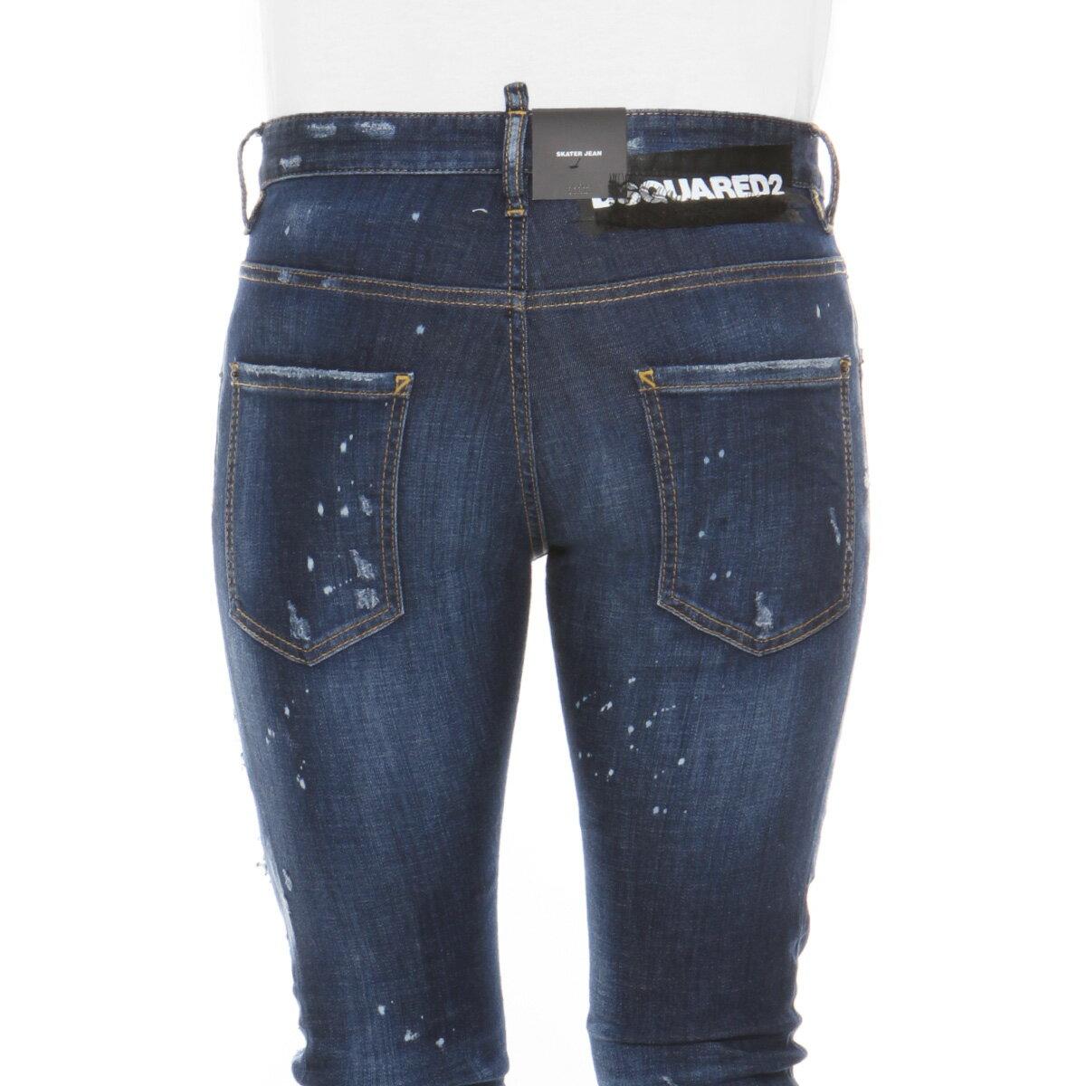 ディースクエアード DSQUARED 2 パンツ メンズ S74LB0471 S30342 470 クラッシュ&リメイク加工 ジーンズ SKATER スケーター BLUE ブルー