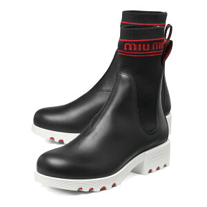 Miu Miu MIU MIU鞋子女士5U115C 3KK1 F0N98靴子短NERO + ROSSO黑色