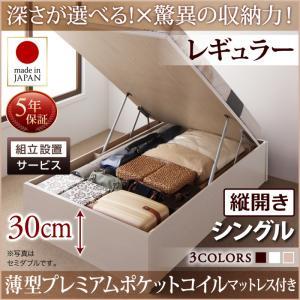 組立設置付 国産跳ね上げ収納ベッド Regless リグレス 薄型プレミアムポケットコイルマットレス付き 縦開き シングル 深さレギュラー日本製ベッド 国産ベッド 日本製 シングルベッド シングル マットレスシングル マットレス付 マットレスセット