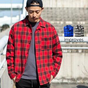 チェックシャツ メンズ ファッション 開襟シャツ オープンカラーシャツ チェック柄 シャツ 長袖シャツ ネルシャツ タータンチェック レッド ブルー ブラック ホワイト 赤 青 黒 白 improves