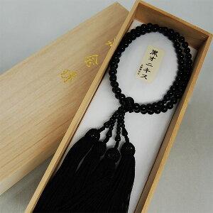 女性用数珠オニキス7ミリ玉二輪正絹頭房