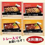 送料無料冷凍食品唐房米穀炭火・牛焼肉重&さつま黒豚ハンバーグ重2種計4個セットランチ米飯