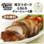 お肉ギフト詰め合わせ送料無料デュロックファーム四万十ポークとろとろチャーシュー4個セット