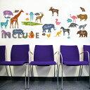 壁シール ウォールステッカー ウォールシール 動物 アニマル 動物図鑑 動物英語 英語の勉強 季節飾り 幼稚園 保育園 キッズ 子供部屋 ラマ クマ ゾウ しま