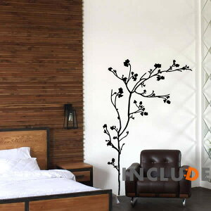 Wall sticker Wall sticker Tree Tree Monochrome Monotone Simple Freedom Sakura Ume sakura ume Hanging scroll One tree streamline Casual Design Fun Exciting Decorative Wall Seal