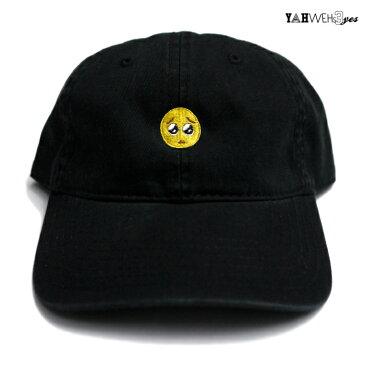 【メール便対応】YAHWEHS EYES STRAP BACK CAP【BLACK】【PIEN】(通販 メンズ レディース 男 女 兼用 帽子 キャップ ベルト アジャスター ストラップバック 絵文字 ぴえん ヤハウェズアイズ 黒 ブラック)