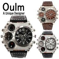 【全2色】【Olum】日本製ムーブメント/腕時計/ビッグフェイス/デュアルタイムス/ダブルタイムス/クオーツ/ブラウン/ブラック/コンパス/温度計