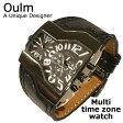 Oulm 日本製ムーブメント 腕時計 ビッグフェイス フルステンレス ステンレス デュアルタイム ダブルタイム タイムゾーン クオーツ ブラック メイドインジャパン ムーブメント 世界時計 オウルム