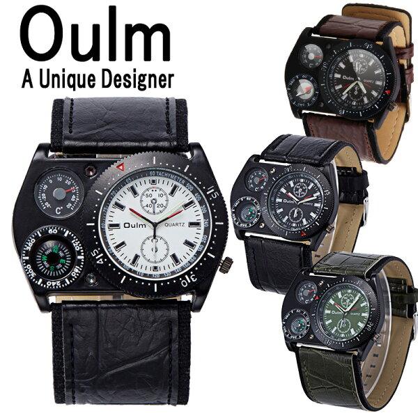 Oulm腕時計方位磁石メンズ防水日本製日本製ムーブメントビッグフェイスフルステンレスステンレス温度計コンパスクオーツメイドインジ