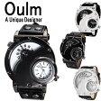 Oulm 日本製ムーブメント 腕時計 ビッグフェイス デュアルタイムス ダブルタイムス クオーツ ブラウン ブラック シンセティックレザー ワールドタイム 世界時計 メイドインジャパン ムーブメント