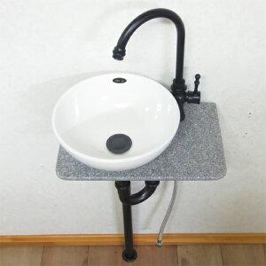 【Eセット2】2色の水栓が選べる人工大理石の手洗い器セット(洗面台・陶器・省スペース・人工大理石・黒・古銅) INK-0502009Hset-2