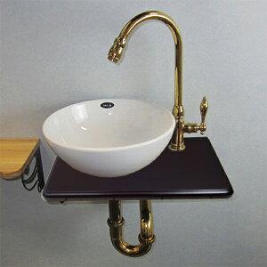 【Eセット38b】陶器ボウル・単水栓の色が選べる木製化粧台セット(木・ウッド・省スペース・金...